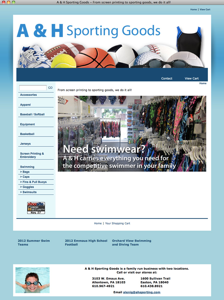 Blue Dot Graphic Design and Anderson Multimedia launch New E-commerce Site for A & H Sporting Goods