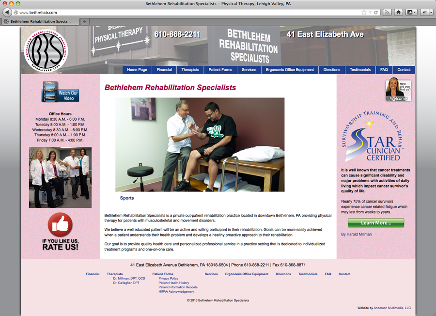 Anderson launches new website for Bethlehem Rehabilitation Services