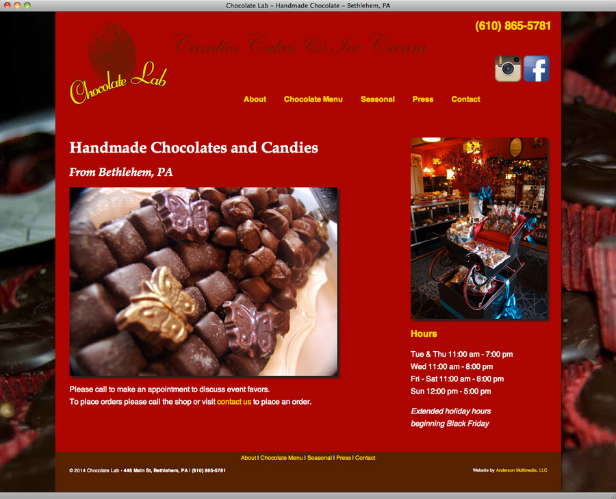 Chocolate Lab website design
