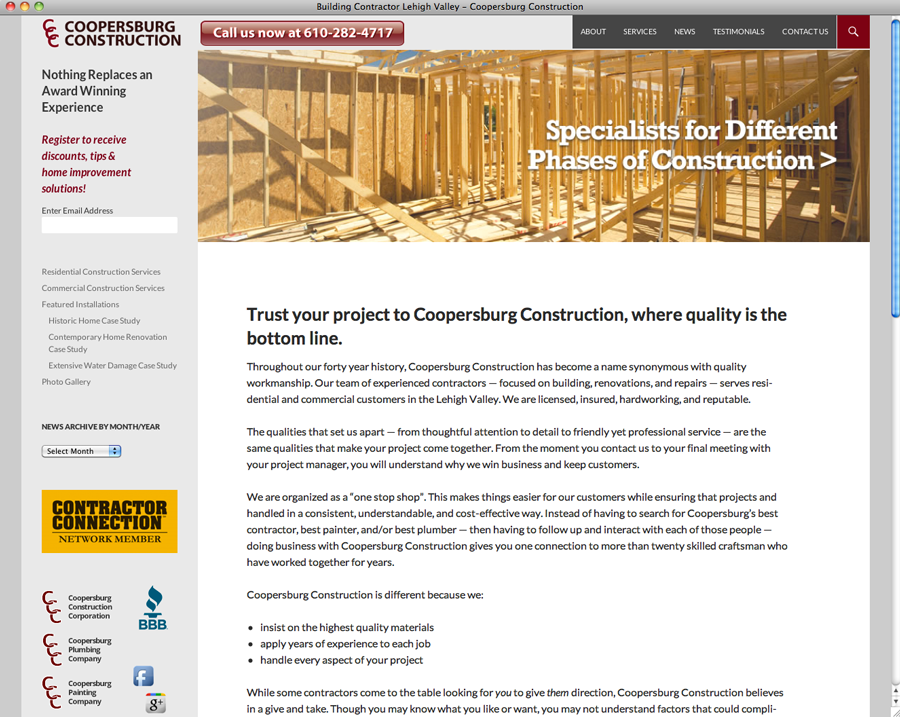 Coopersburg Construction website