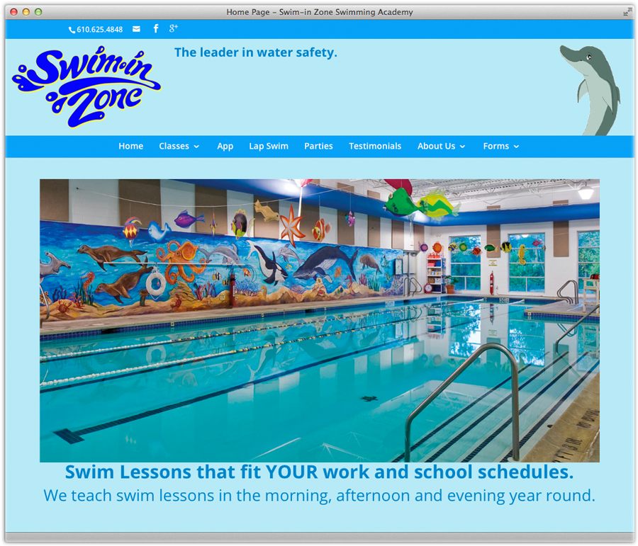 Swim-In Zone responsive WordPress CMS redesign