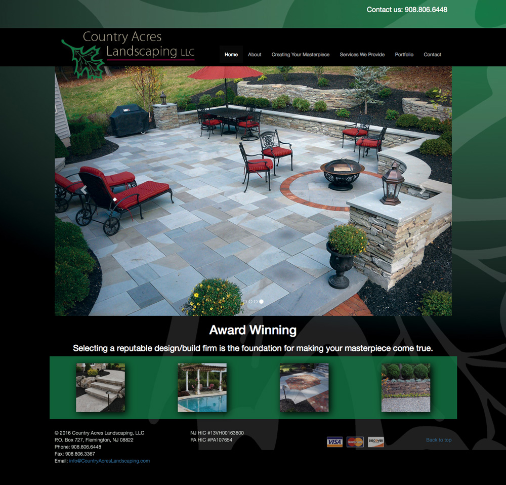 Country Acres Landscaping website